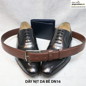 Dây nịt da bò 3 lớp đầu kim xỏ khóa cho nam 012