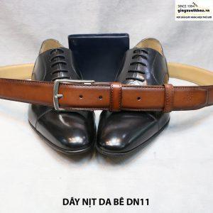 Dây nịt da bò 3 lớp đầu kim xỏ khóa cho nam 008