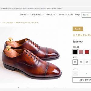 Giá niêm yết Giày da bò nam VNXK Oxford CNES 703