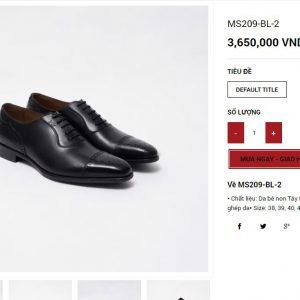 giá niêm yết Giày da nam Oxford cao cấp MS209 Size 42 001