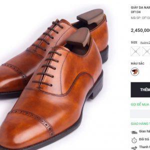 giá niêm yết Giày Oxford nam hàng hiệu OF124 Size 41 001