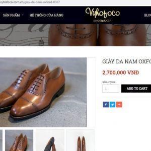 giá niêm yết Giày da nam Oxford Vyhofoco VH1916 Size 43 001