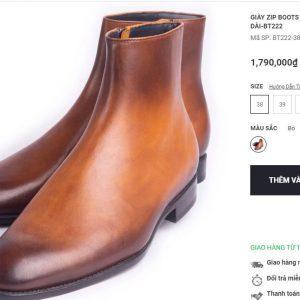 Giày Boot da bò có dây kéo BT222 004