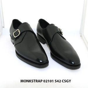 Giày da nam đế cao su nút Monkstrap 02101 Size 42 001