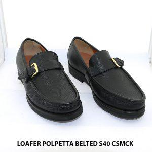 Giày lười loafer da hột mềm Polpetta Belted Size 40 001